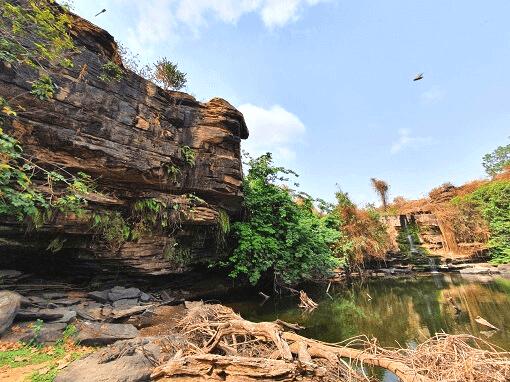 Dried up waterfall at Bomfobiri WS