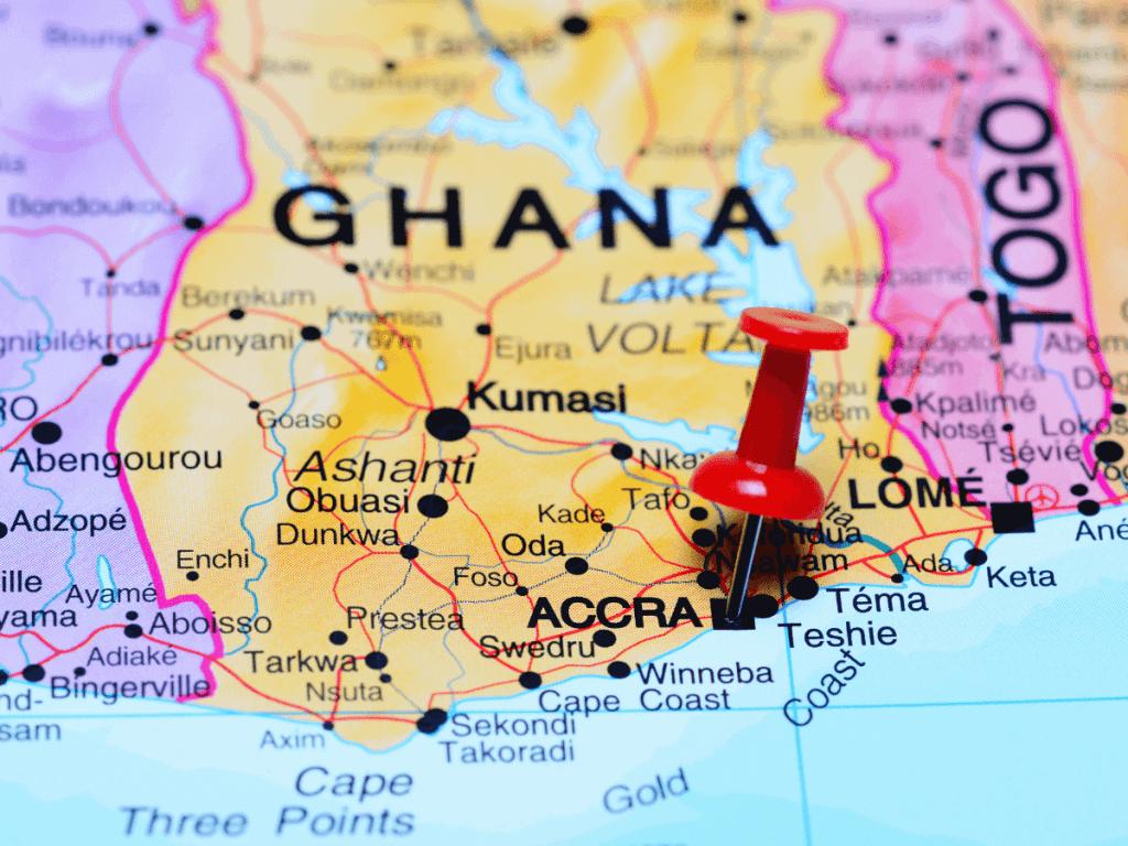 Ghana op de kaart