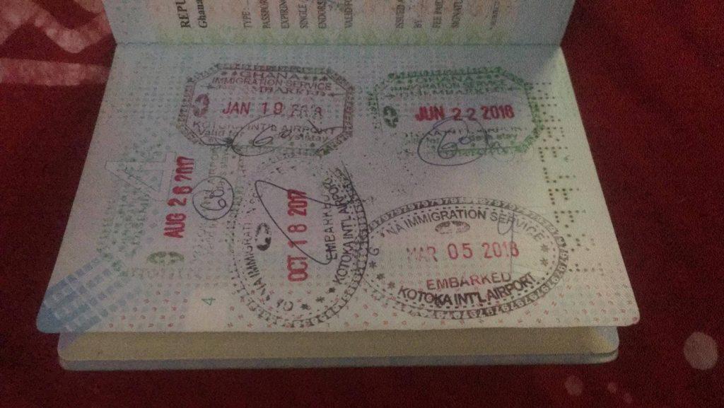 visum voor Ghana, stempel bij aankomst