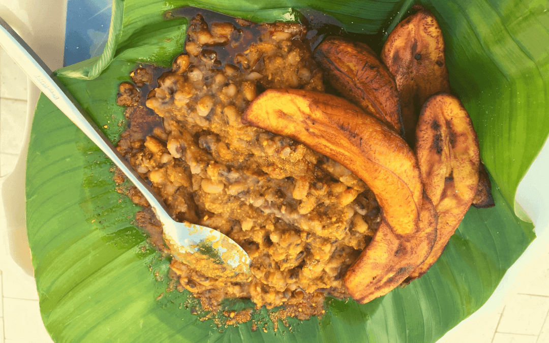 an example of street food in Ghana, gari with beans and plantain